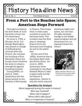 History Headline News Informational Text Social Studies Reading Summer Bundle