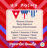 History Hyperdoc Bundle: 13 Colonies, Early Explorers, & Branches of Government