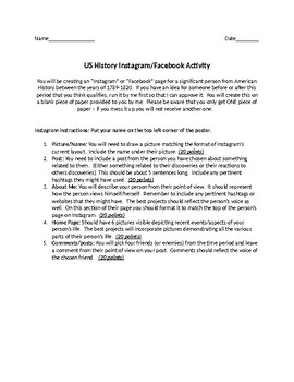 History Instagram or Facebook Project
