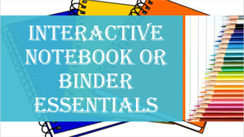 History Interactive Notebook or Binder Getting Started Essentials