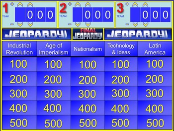 History Jeopardy Game for Industrial Revolution Unit
