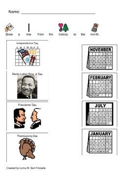 History - K.1 - Quiz - Identifying -Thanksgiving, MLK Day, President's Day, 4th