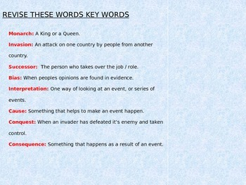 History Key Words Plenary/Game