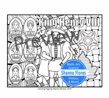 History: King Henry VIII Zentangle Coloring Page - 6 Wives, Tudor, England