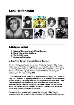 History: Leni Riefenstahl - Creative Artist or Hitler's Propagandist?