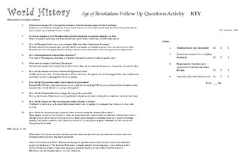 History - MS or HS World History - Age of Revolutions / Fill In Timeline