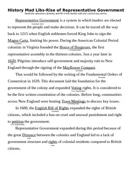 History Mad Libs-Rise of Representative Government