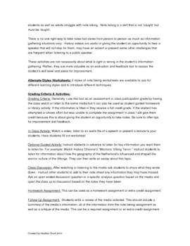 History Media Review Worksheet & Activity