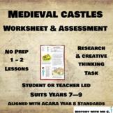 Medieval Castles Worksheet- Middle Ages History - Medieval Europe