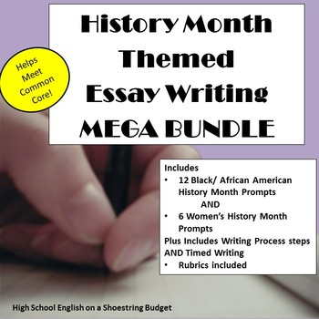 History Month Themed Essay Writing Mega Bundle, Rubrics &
