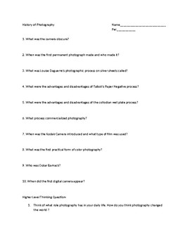 History Of Photography Worksheet