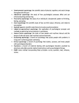 History/Origins of Psychology Vocabulary Unit