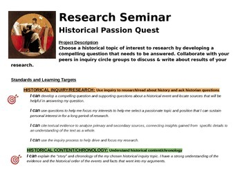 "History ""Passion"" Project - Personalized Learning Approach"