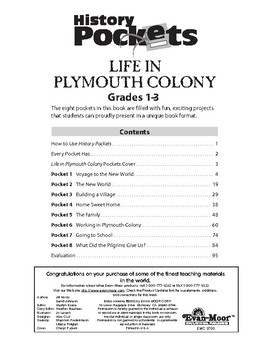 History Pockets, Life in Plymouth Colony