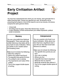 History Project: Early Civilization Artifact Project