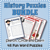 No Prep HISTORY BUNDLE  - 48 Word Search Puzzle Worksheet Activities