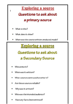 History Questioning Stems for Sources