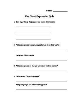 History Quizzes:  World Wars, Great Depression, Modern Era