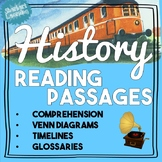 General History Reading Passages & Activities! Venn Diagrams, Timelines + more
