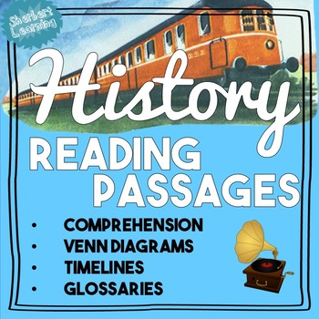 General History Reading Passages & Activities! venn diagra