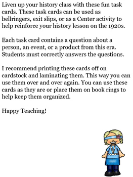 History Review: 1920s Task Cards