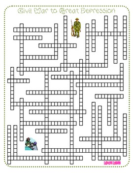 History Review Crossword Puzzle - Civil War to Great Depression