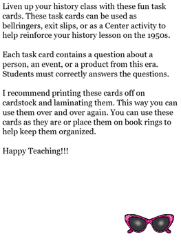 History Review: The1950s Task Cards