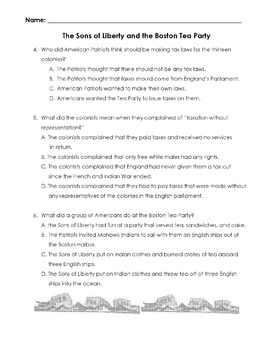 History SONS OF LIBERTY AND THE BOSTON TEA PARTY w/ 14 Reading Comprehension Qs