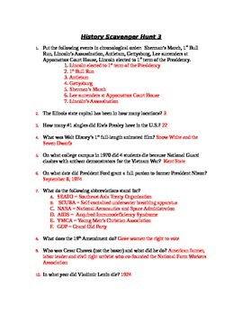 History Scavenger Hunt - End of Year Activity