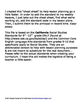 History/ Social Studies Standards Cheat Sheet- High School