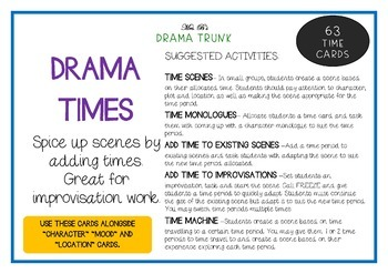 History - TIMES Drama / English Cards + Suggested Drama Activities