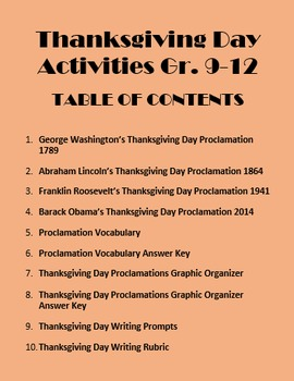 Thanksgiving Day History Activities Gr. 9-12