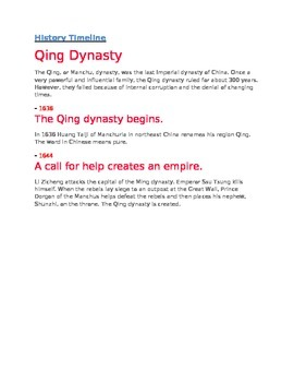 History Timeline Qing dynasty for 4th Grade