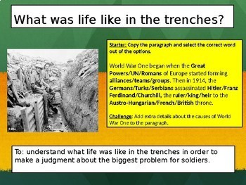 History: Trench warfare WW1 - Life in the trenches
