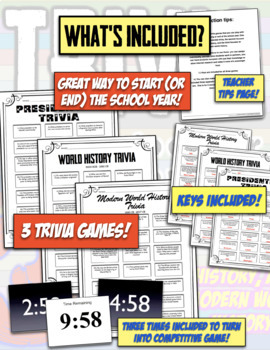 History Trivia: 3 Trivia Ice Breaker Games!  Presidents, Ancient, World History!
