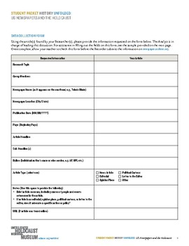 History Unfolded: US Newspapers and the Holocaust (Student Packet)