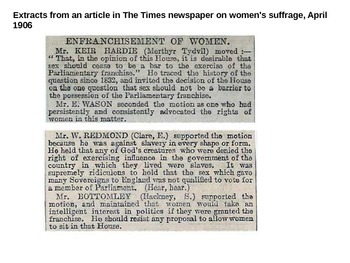 History: Women's suffrage Campaign - UK source examples