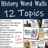 History Department Word Wall Bundle: 12 Different Topics!
