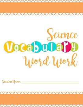 Science Word Work Cover page