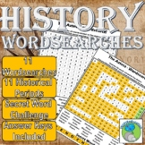 History Wordsearches: 11 Periods, Egyptians, Aztecs... Ans