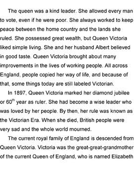 Biography: QUEEN VICTORIA Reading / History Lesson with 10 Short Answer Qs