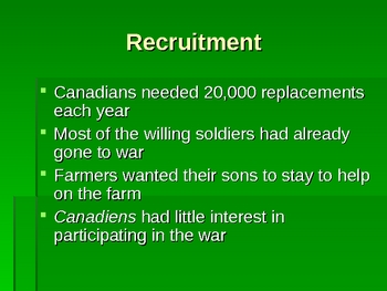 History - World War 1 (WWI) Conscription in Canada PowerPoint