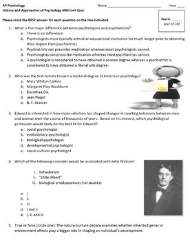 History and Approaches of Psychology Unit Quiz
