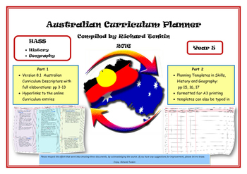 History and Geography Australian Curriculum Planner- Year Five