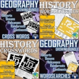 History and Geography BUNDLE: Wordsearch and Crossword (Answer Key, Print & Go)