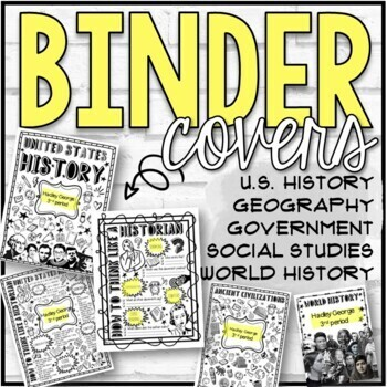 History and Geography Doodle Binder Covers and Spines