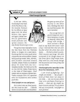History and Geography Words-Chief Joseph Speaks