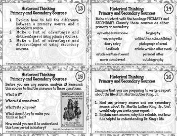 History and Literacy Task Cards: BC/BCE, AD/CE; Timelines; Sources; Perspectives