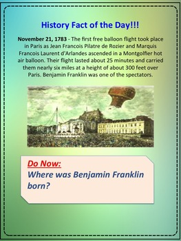 History and Social Studies Fact of the Day for November