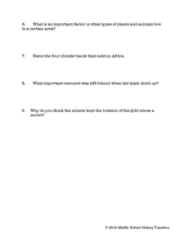 History of Africa Reading Guides for Holt Textbook